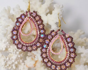 "Earrings ""Stephanie"" Pink and Plum"