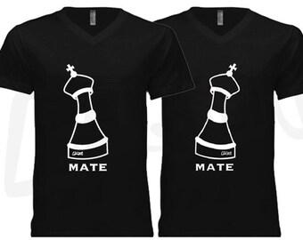 Couple t shirt his and hers skelleton theme black gildan