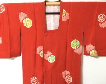 Vintage Japanese michiyuki coat, Kimono, Japanese coat, red,  Kimono coat, Free shipping