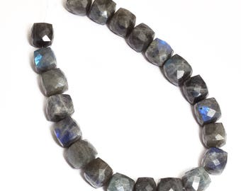 Labradorite Cube Faceted Beads | 12 x 12 mm  Cube |Natural Labradorite Cubic Blue Fire Beads- Natural Semi Precious Grey Moonstone Beads.