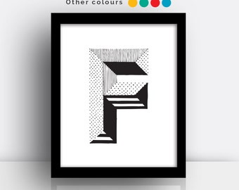 Letter F print - hand drawn typeface