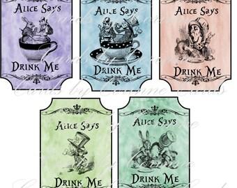 Instant Download Alice in Wonderland drink me pastel bottle labels