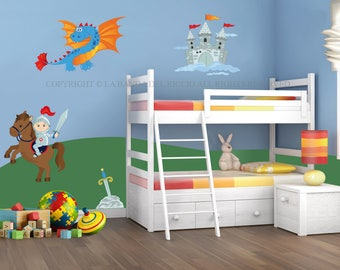 Wall decals kids Wall stickers Baby Nursery Room Decor Knights and Dragons
