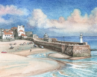 St Ives Harbour Watercolor Painting, Collectable Art Gift, Original Watercolour Painting, English Harbour Painting, FREE shipping