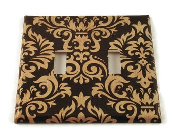 Double  Light Switch Covers  Switchplate Switch Plate in Black and Tan Damask (089D)