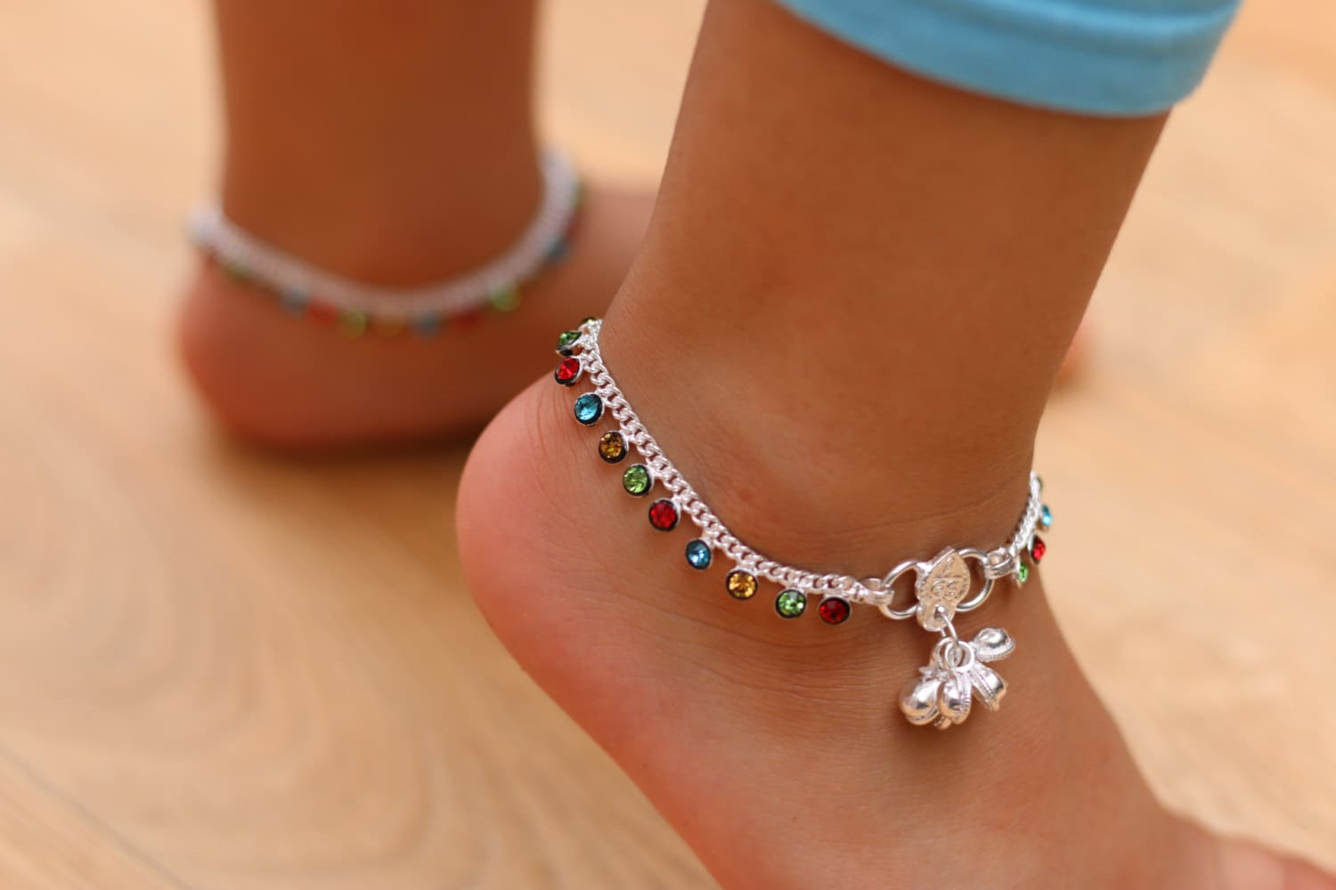 Multi-coloure Anklet Wedding anklets with bells Indian