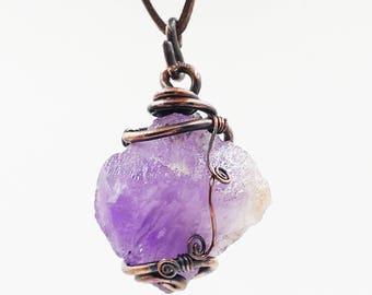 Raw amethyst necklace, amethyst healing stone copper necklace, wrapped necklace, amethyst jewelry, February Birthstone