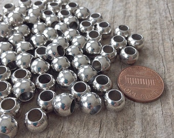 75pcs Small Silver Beads, Large Hole Beads, CCB 7mm with 5mm hole NEW, Jewelry Making, DIY, Craft Supplies, Jewelry Supplies