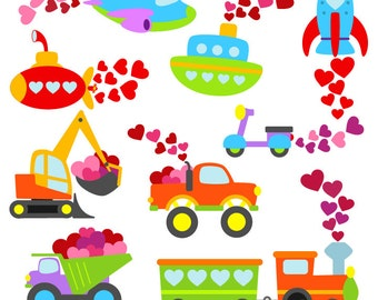 Valentine Transportation Clipart Clip Art, Valentine's Day Clip art Clipart - Commercial and Personal Use