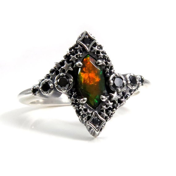 Black Opal Marquise Constellation Engagement Ring - Silver Celestial Black Diamond Cluster Ring - Pick Your Center Stone