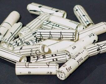 Sheet Music Beads- 15 vintage sheet music paper beads, recycled paper beads, rolled paper beads, handmade paper beads, music tube beads