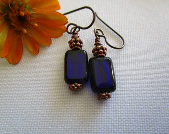 Classic Simple Cobalt Picasso Czech Blue Rectangle Earrings With Copper Deep Indigo Earrings Hypoallergenic Niobium Ear Wires