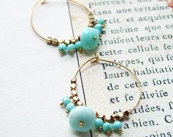 Opal Hoop Earrings, Boho Hoop Earrings, Peruvian Opal Earrings