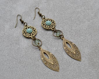 "Earrings ""heidi"" beads and swarovski crystal cabochons"