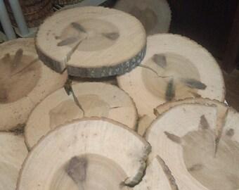 "15 Pc 9.5"" to 12"" poplar Log Slices Wood Disk Rustic Wedding Centerpiece Coaster"