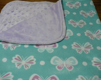 Baby Blanket-Aqua and Purple Butterfly Minky and Light Purple Dimple Dot Minky