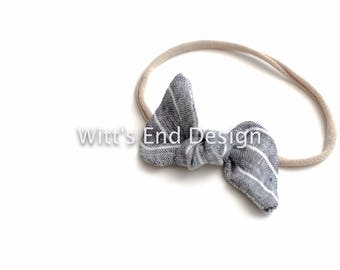 One Size Fits All- Top Knot Elastic Headband/Bow Collection- Chambray Stripe on nylon or metal clip