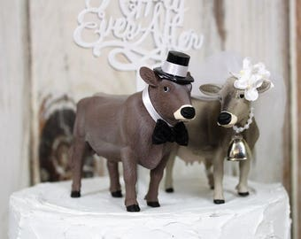 Cow and Bull Cake Topper-Brown Swiss Bull and Cow-Funny Cake Topper-Barn Wedding Cake Topper-Animal Cake Topper-Farm Couples-Bride and Groom