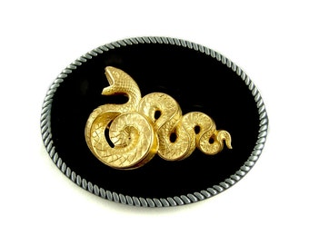 Snake Belt Buckle Inlaid in Hand Painted Black Enamel Gothic Victorian Serpent Oval Buckle with Color Options