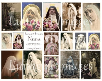 Beautiful NUNS vintage PHOTOS digital collage sheet, Victorian images, French religious ephemera Catholic Gothic, tinted postcards DOWNLOAD