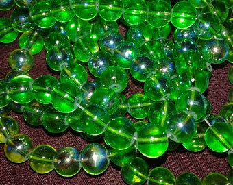 glass beads, Green Pearl, Green Pearl glass, bead jewelry making, 20 green ab glass beads clear 8mm