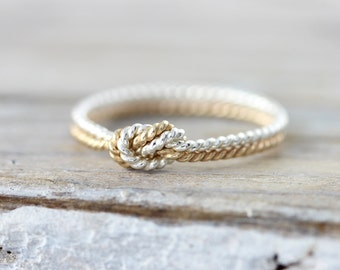 Two strand twisted knot ring - silver and yellow gold filled ring, promise or friendship ring