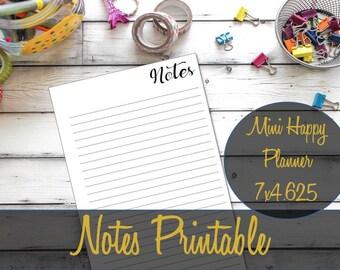 Mini Happy Planner Insert, Notes Inserts, Mini Happy Planner Notes, Journal inserts, Recollections Refill, Mini Happy Planner Printable