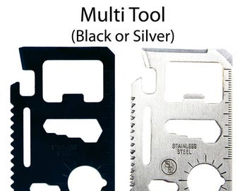 11 in 1 Multi Function Pocket Survival Tool Credit Card Sized Fits Wallet Bottle Opener Screwdriver Saw Blade (2 Colors, Many Pack Sizes)