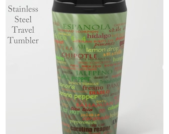 Chili Pepper Tumbler-Stainless Steel Mug-Insulated Coffee Mug-Metal Mug-15 oz Mug-Fun Coffee Mug-Insulated Travel Mug-Hot Pepper Coffee Mug