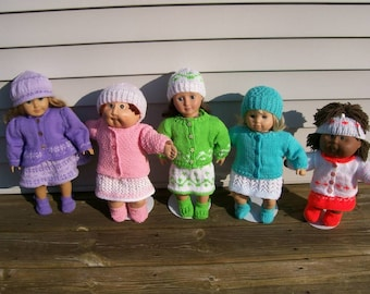 98) Knit Hat Sweater Dress Shoes Skirt Blouse Hand Made 13 15 18 Inch Dolls American Girl Bitty Baby Cabbage Patch Doll Clothes Dolls Toys