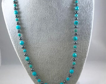 Teal and Black Pearl Beaded Necklace, Teal Beaded Necklace, Blue and Black Beaded Necklace