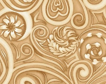 Coffee Escapes Latte Swirls Beige Henry Glass Cotton Quilting Fabric 1/2 YARD