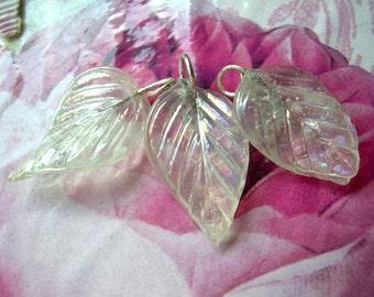 7 Vintage glass dangling beads leaf  shape translucent clear glass, 27mm X15mm