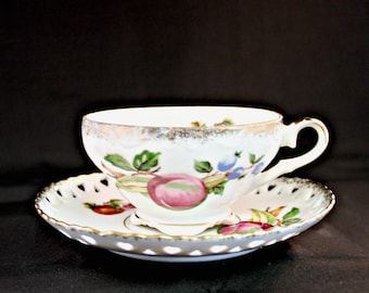 Vintage Fruit Tea Cup with Matching Saucer