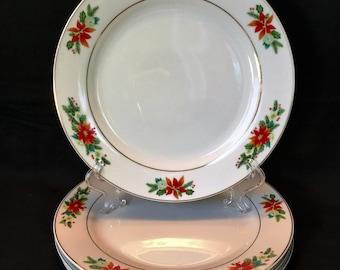 Royal Norfolk Poinsettia \u0026 Holly Dinner Plates w/Gold Trim & Royal norfolk   Etsy