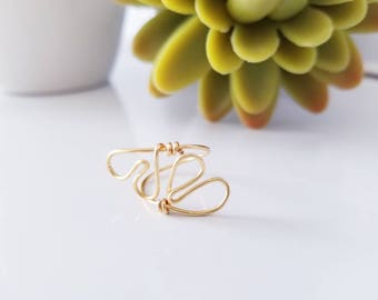 Adjustable Heart Ring / Heart Midi  Ring / Love Ring / Heart Knuckle Ring / Wire Gold Filled Heart Ring / Midi Ring / Mother Day Gift