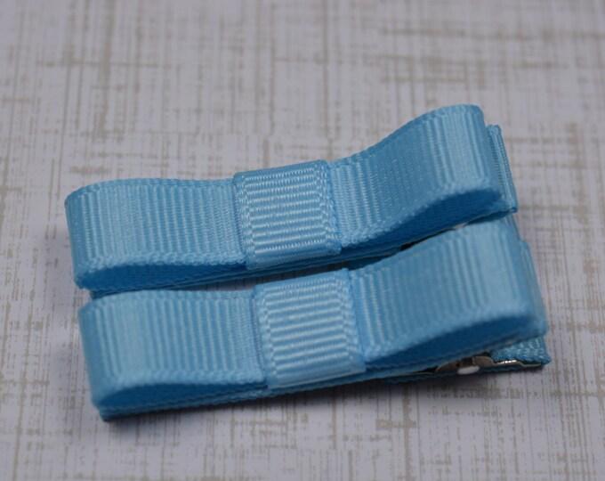 Blue Hair Clips Basic Tuxedo Clips Alligator Non Slip Barrettes for Babies Toddler Girl Set of 2