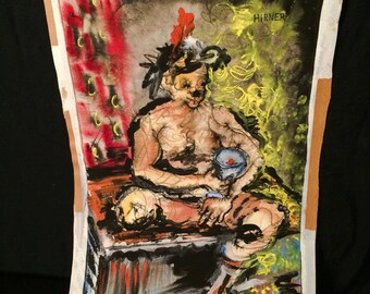 Original Vintage Art Mixed Media Painting Bacchus 1950s 1960s Bohemian Counter Culture Underground Subterranean Anti Establishment