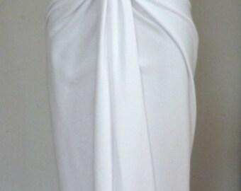 White cotton lycra v neck dress