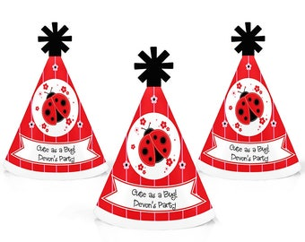 Ladybug - Personalized Mini Cone Party Hats - Small Little Birthday Party Hats - Baby Shower Mini Party Hats - Modern Ladybug - 10 Ct
