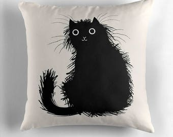Moggy - Black and White - throw pillow cover / cushion cover by Oliver Lake / iOTA iLLUSTRATION