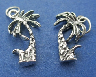 New 9mm x 16.5mm 925 Sterling Silver Palm Tree Pendant Charm 1pc