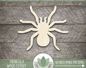 Tarantula Laser Cut Wood Shape, DIY Crafting Suppy, Wood Spider Shape, Halloween Spider, Many Size Options, Blank Wood Shapes