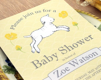 Printable Lamb Baby Shower Invitation Baby girl Baby boy Gender Neutral yellow grey gray Digital PRINTABLE DIY