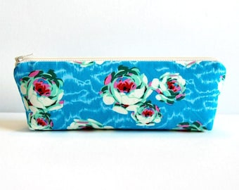 Zipper Pouch Makeup Bag Cosmetic Case Toiletry Storage Women and Teens Amy Butler Hapi Flowing Buds in Turquoise