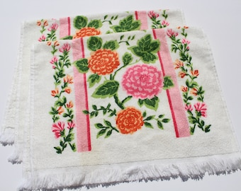 "Vintage Pair of Pink Orange Flower Terry Cloth Dish Towel,  22"" x 15"", 70s 1970s Retro Mod Mid Century Kitchen Towel"
