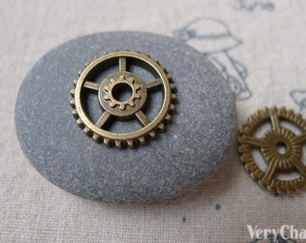 30 pcs Antique Bronze Mechanical Watch Gearwheel Charm 18mm A7091