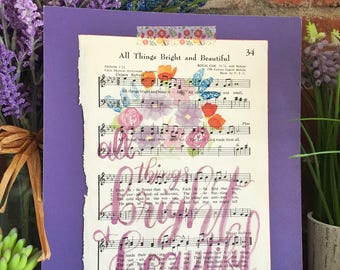 All Things Bright and Beautiful Hymn Print