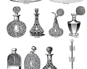 1968 Vintage Book Print - Toilet Bottles, Atomizers, Ink Stands - Victorian Americana Black and White 2 Sided Page