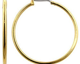"""Monet 1 1/2"""" Gold Plated Plain Hoops Pierced Stud Earrings Vintage Large Round Thing Tube Surgical Steel Post Nickel Free"""